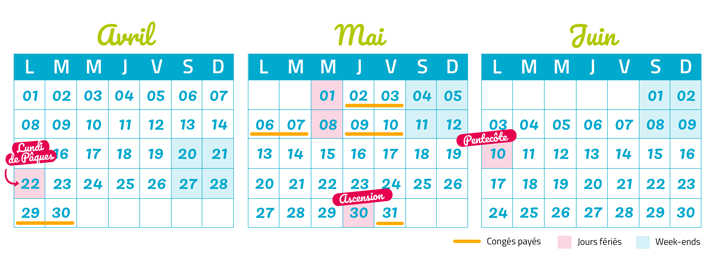 Calendrier ponts 2019